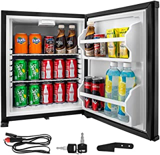 VBENLEM 1.4cu.ft Portable Refrigerator,12V DC &110V AC Compact Absorption Fridge,Black Mini Car Cooler with Lock Reversibl...