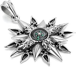 JewelryWe Gioielli Collane Uomo Acciaio Inox, Bussola Compass Find My Way, Retro Pendente dell'Annata per Outdoor con Cate...