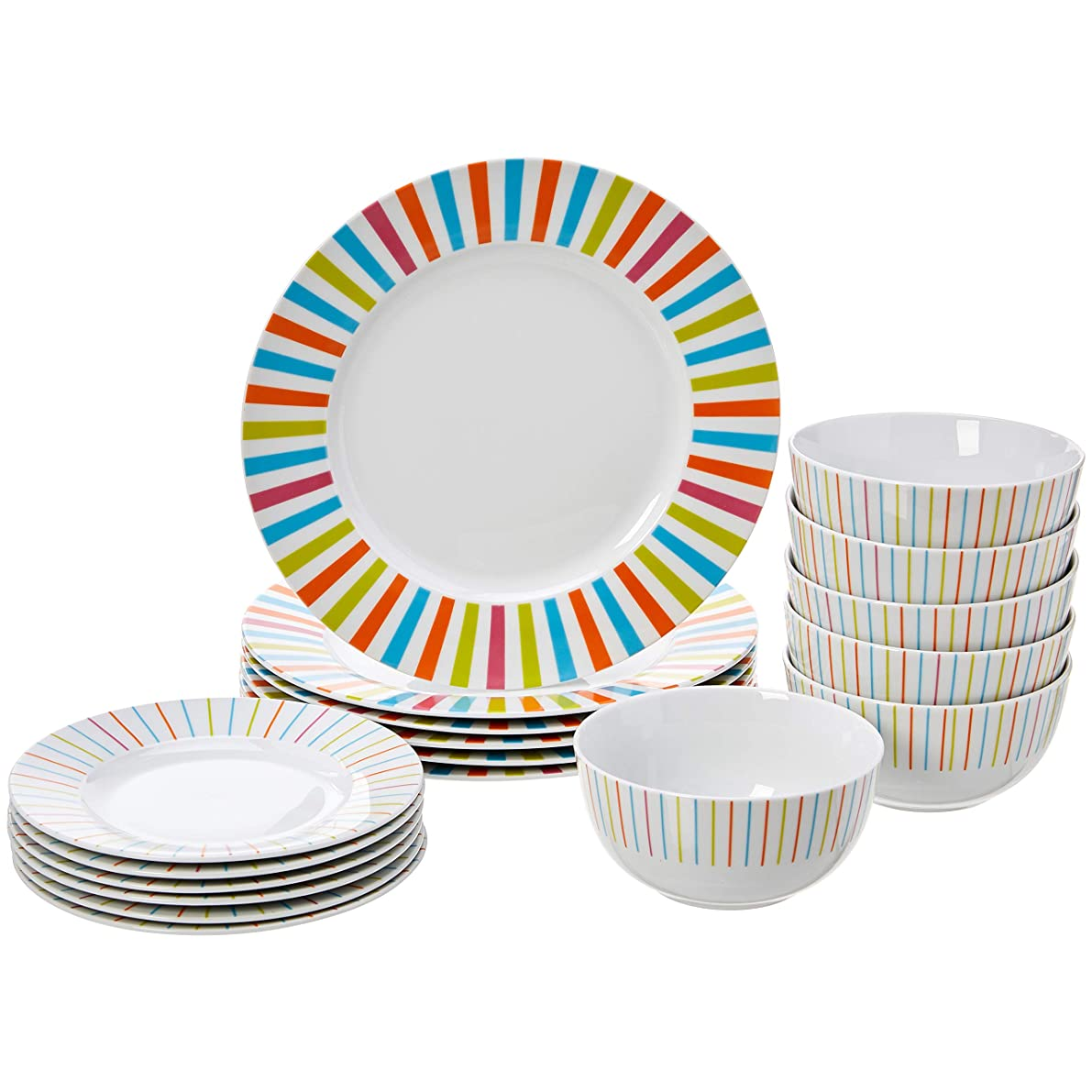AmazonBasics 18-Piece Dinnerware Set - Sunburst, Service for 6