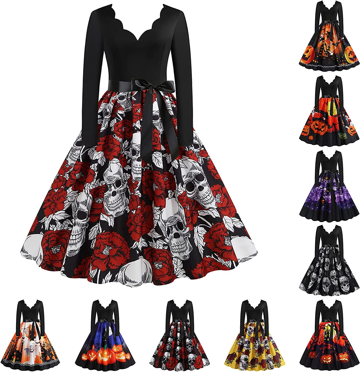 ORT Halloween Dress for Women Casual Summer Sexy Print V Neck Long Sleeve Short Mini Backless Dress Cocktail Party