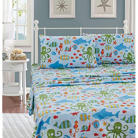 Sheet Set Sea Life Octopus Crabs Fishes Wheals Sharks Light Blue Green Red Orange New # Octopus (Twin)
