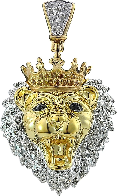 TGDJ 10kt Yellow Gold Mens Round Diamond Lion Head Animal Charm Pendant 0.32 Cttw (I1-I2 Clarity; G-H Color)