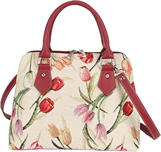 Signare Women's Fashion Tapestry Top Handle Handbag with Detachable Strap to Convert to Shoulder Bag with Tulips Flower(Conv-TULWT)