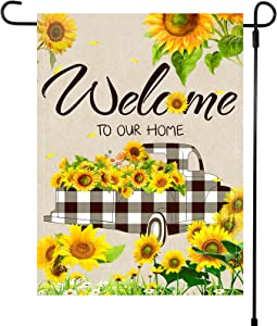 Welcome to Our Home Garden Flag Buffalo Plaid Truck Sunflower Garden Flag Car Flower Seasonal Yard Flag Double Sided Holiday Decorative Lawn Flag for Summer Outdoor Home Yard, 12 x 18 Inches