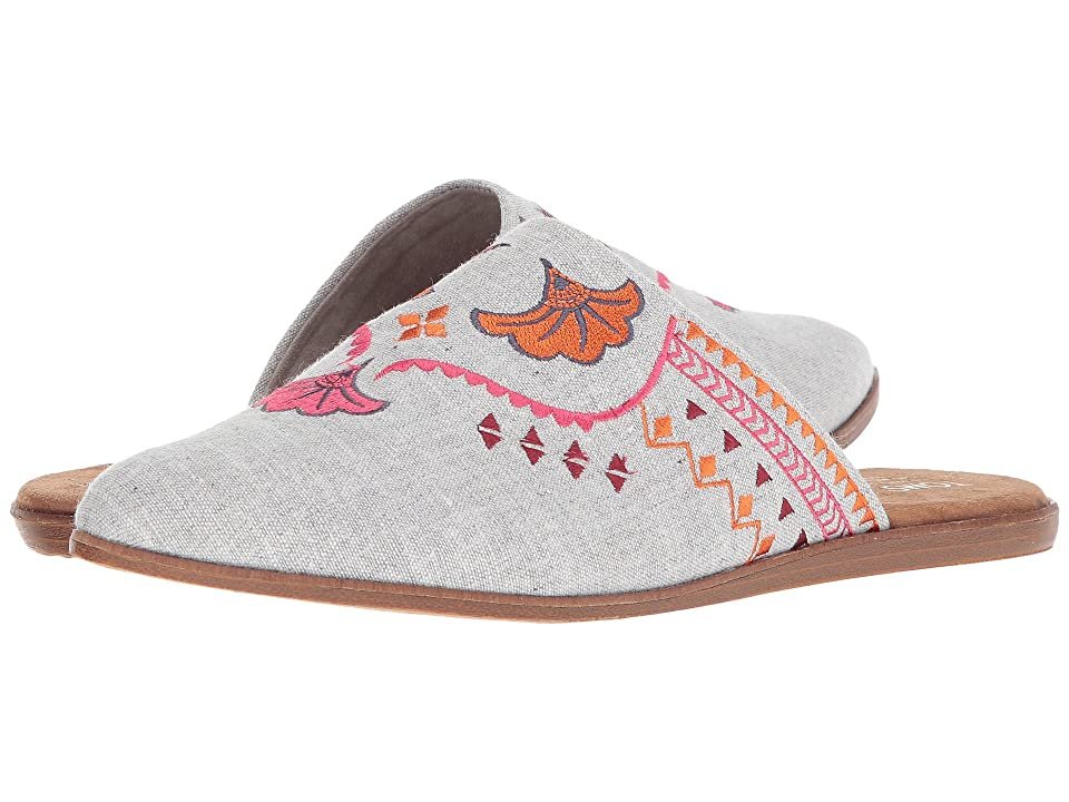 TOMS Jutti Mule (Drizzle Grey Slub Chambray/Embroidery) Women