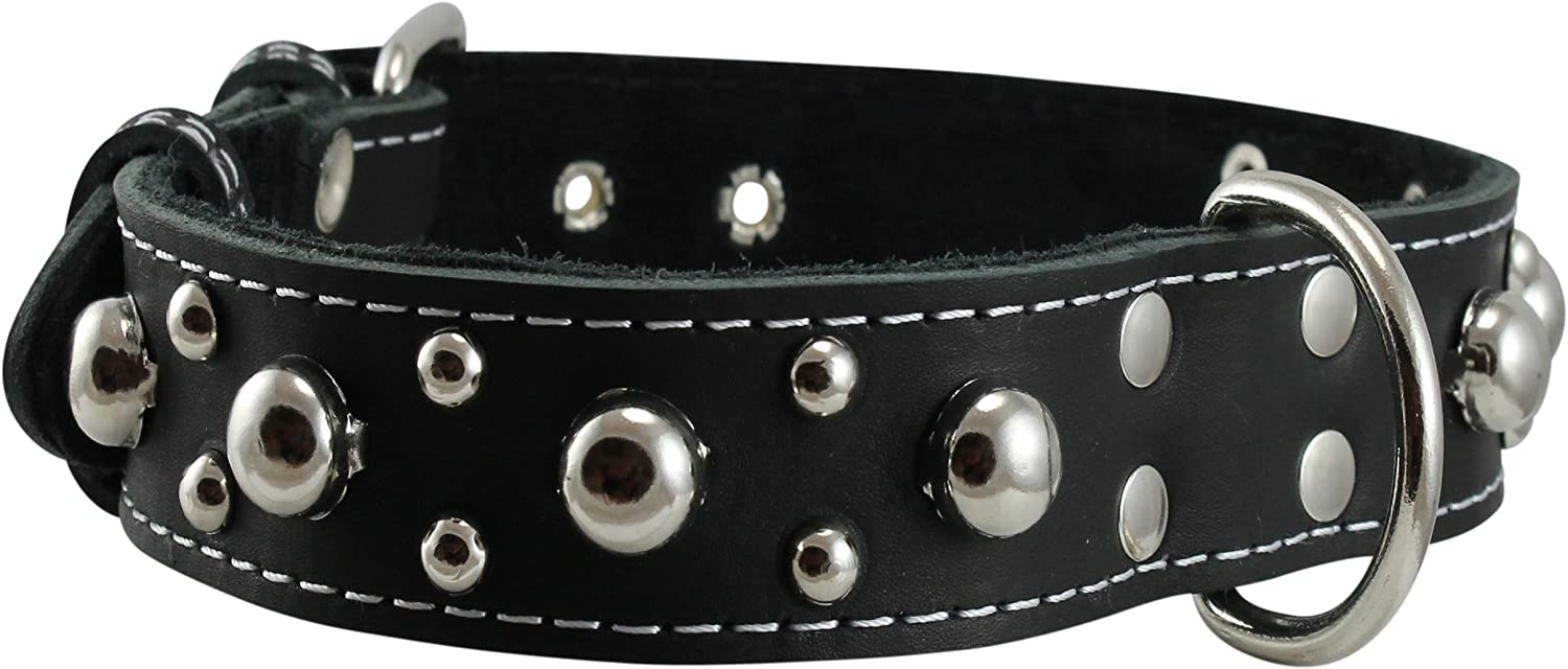 Black Real 1.5  Wide Thick Leather Studded Dog Collar. Fits 17 21.5  Neck, Large Breeds.