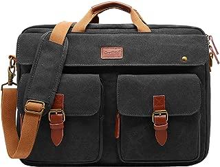 CoolBELL Convertible Messenger Bag Backpack Laptop Shoulder Bag Business Briefcase Leisure Handbag Multi-Functional Travel Bag Fits 17.3 Inch Laptop for Men/Women/College (Canvas Black)