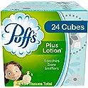 Puffs Plus Lotion Facial Tissues 24 Cube Boxes (56 Tissues per Box)
