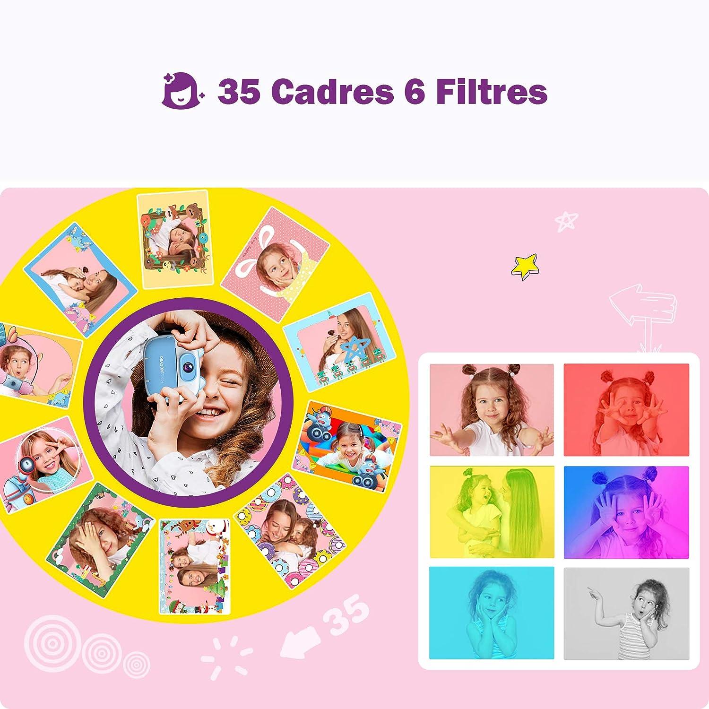 Rose InstantFun2 Autocollant de Dessin Anim/é Appareil Photo Enfants /à Impression Dragon Touch Cam/éra Jouet Num/érique avec Double Objectif,Papier dimpression Crayon de Couleur pour Enfant