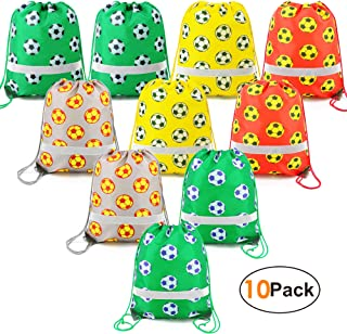 Soccer Ball-Party-Supplies-Favors-Bags Reflective Sports Drawstring Backpack Bags Bulk 10 Pack