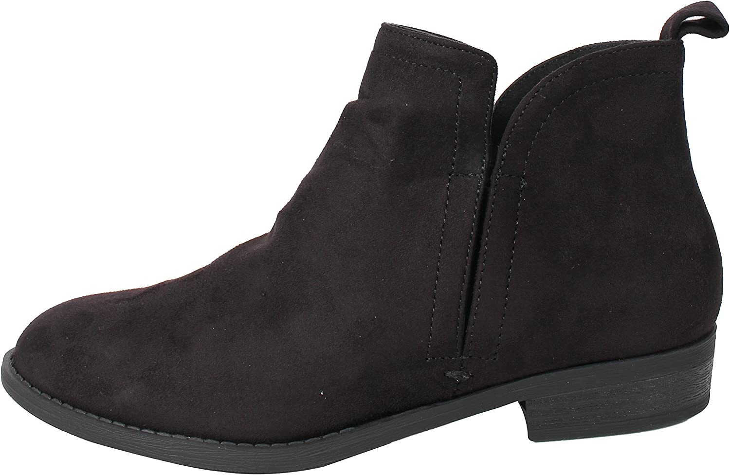City Classified Women's Closed Toe Elastic Open Side Low Heel Pull On Tab Ankle Bootie