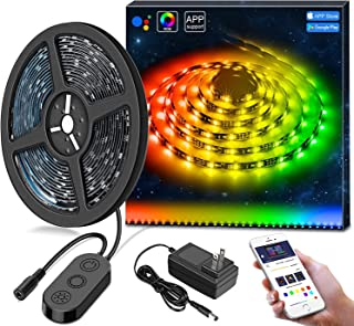 DreamColor LED Strip Lights Built IC, Minger 9.8FT/3M LED Lights Sync to Music, Waterproof RGB Rope Light with APP, 5050 Flexible Strip Lighting, LED Tape Lights, Led String Lights Kit, 12V UL Listed