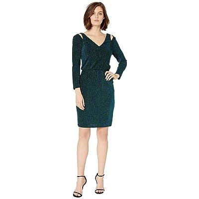 Calvin Klein Long Sleeve Glitter Dress (Emerald/Ultramarine) Women