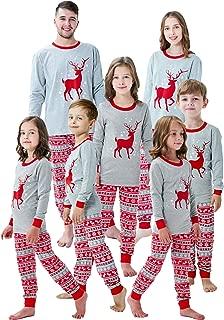 Family Christmas Pajamas Mama/Little/Papa Bear/Reindeer Top&Fair Isle Bottoms,Grey Bear Womens,Large