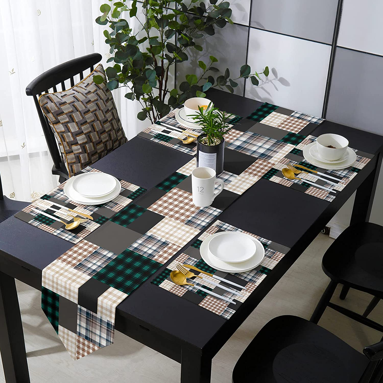 COLORSUM Tampa Mall Table Runner with Placemats Texture Now on sale Buffalo Water Plaid