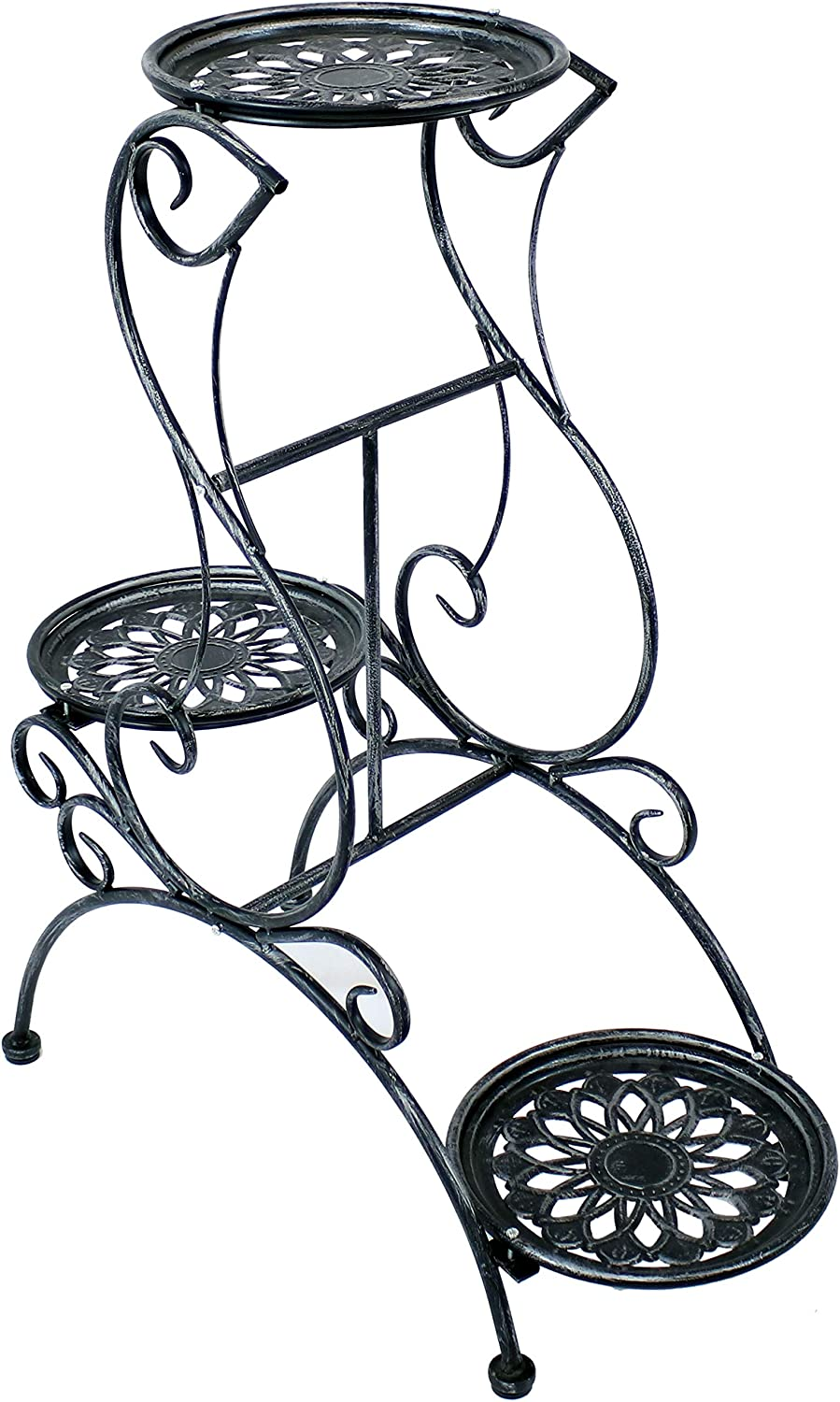 Sunnydaze 3-Tier Outlet ☆ Free Shipping Victorian Metal Plant Stand Charlotte Mall Indoor Flo Outdoor