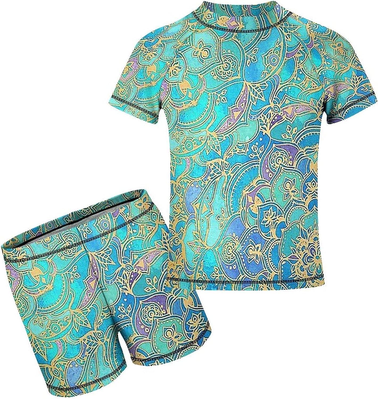 Yiaoflying Kids Boys 2 Piece Swim Set - Flower Mandala Rash Guard Swimsuit Trunks