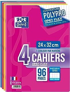 Oxford - Lote de cuadernos (4 unidades, 240 x 320 mm, 96 hojas, 90 g, cuadrícula grande)