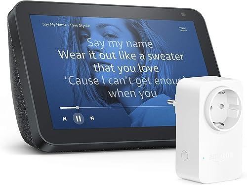 Echo Show 8, Tela de color antracita +Amazon Smart Plug (enchufe inteligente wifi), compatible con Alexa