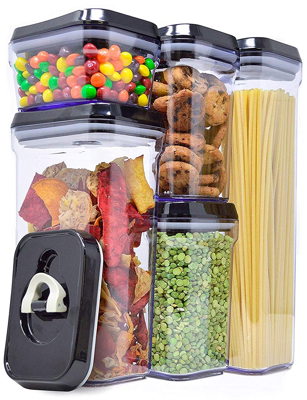 Zeppoli Air-Tight Food Storage Container Set - 5-Piece Set - Durable Plastic - BPA Free - Clear Plastic with Black Lids