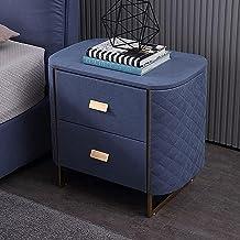 Bedside Table Blue,bedside Cabinet 2 Drawer,E1 MDF Simple Night Stand,Metal Handle ,prismatic Squares Bedroom Furniture St...