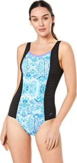 Speedo Women's Contour SCOOPBACK ONE Piece, Black/Impression