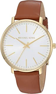 ec4575fa4ea4 Michael Kors Watches Womens Gold-Tone and Luggage Leather Pyper Watch