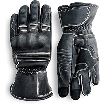 Pre-Weathered Premium Leather Motorcycle Gloves (Black) Knuckle Protection with Mobile Phone Touchscreen by Indie Ridge (X-Large)