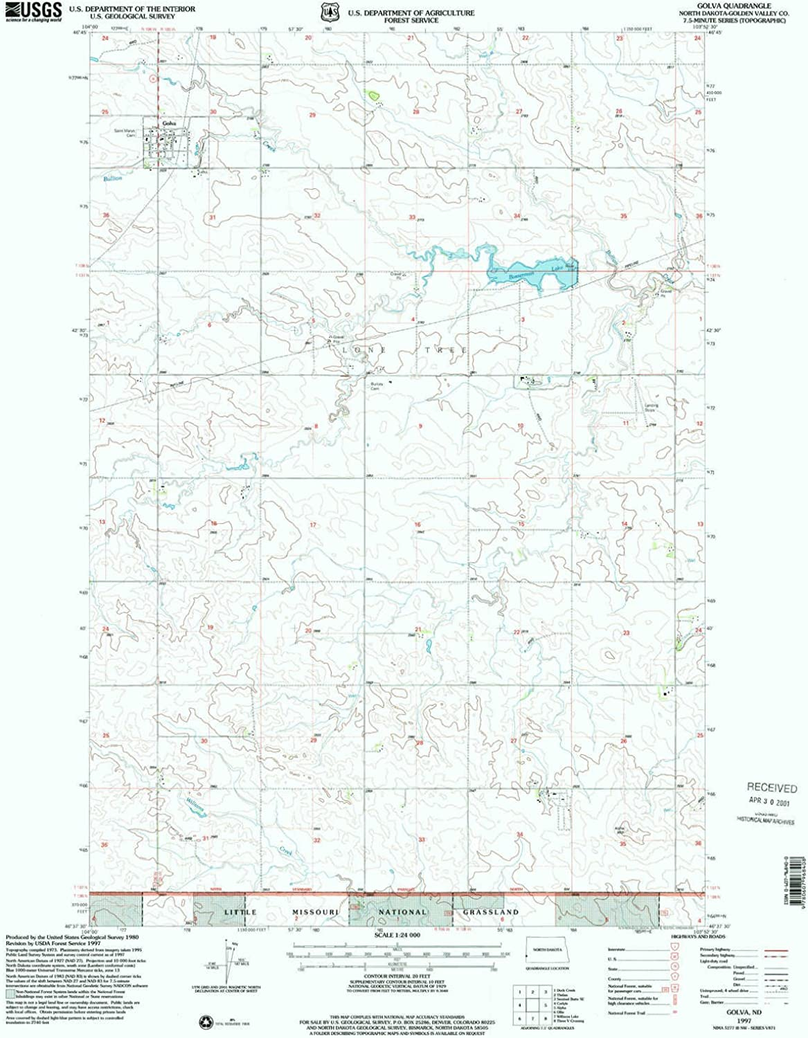 Golva ND topo map, 1 24000 Scale, 7.5 X 7.5 Minute, Historical, 1997, Updated 2001, 27 x 21.6 in