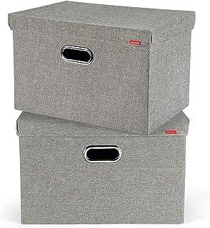 FIMEI Boîte de Rangement, Caisses de Rangement, Pliable en Tissu de Lin Vêtements Paniers de Rangement avec Couvercle, pou...