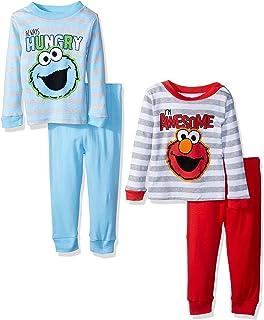 Sesame Street Baby Boys Elmo and Friends 4-Piece Cotton Pajama Set,
