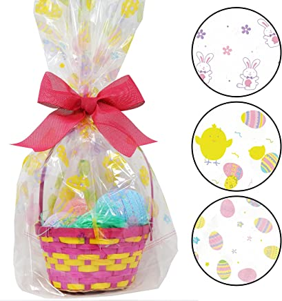 """6 Pack Happy Easter Jumbo Cello Basket Bags 22"""" x 25"""" Printed Plastic Cellophane Wrapping Party Decorations by Gift Boutique"""