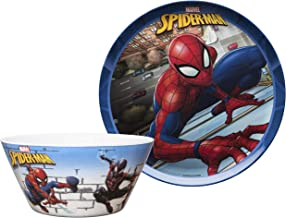 Zak Designs Marvel Comics Spider-Man - Kids Dinnerware Set, Including 10in Melamine Plate and 27oz Bowl Set, Durable and Break Resistant Plate and Bowl Makes Mealtime Fun (Melamine, BPA-Free)
