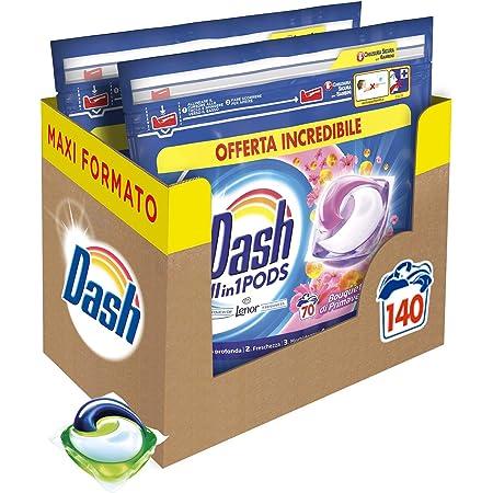 Dash All in 1 Pods Detersivo Lavatrice in Capsule, 140 Lavaggi (2 x 70), Primavera, Maxi Formato, Rimuove le Macchie, Brillantezza Per Tutti i Capi