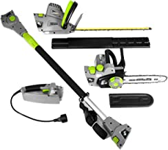 """Earthwise CVP41810 7 10"""" Handheld Saw-4.5 Amp 17"""" Pole Hedge Trimmer 4-in-1 Multi Tool, Grey"""