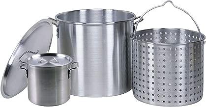 Professional Grade 80 Quart All Purpose Boiling Pot with Basket (3pc) plus a Bonus 12 Quart Stock Pot (2pc) .