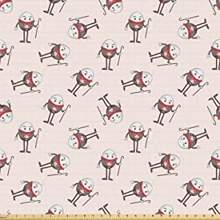 Lunarable Alice in Wonderland Fabric by The Yard, Humpty Dumpty Egg Dancing Character in Fairytale Fantasy Story, Stretch Knit Fabric for Clothing Sewing and Arts Crafts, Pink Brown Red
