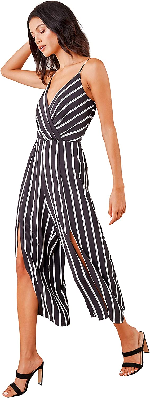 Sugar Lips Damen Reeves Striped Wide Leg Jumpsuit Schwarz-weiß