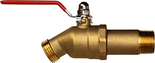 "House Mods HMP010 Brass 3/4"" MIP Water Heater Replacement Drain valve(Full Port, Ball Valve, 2 inch Shank)"