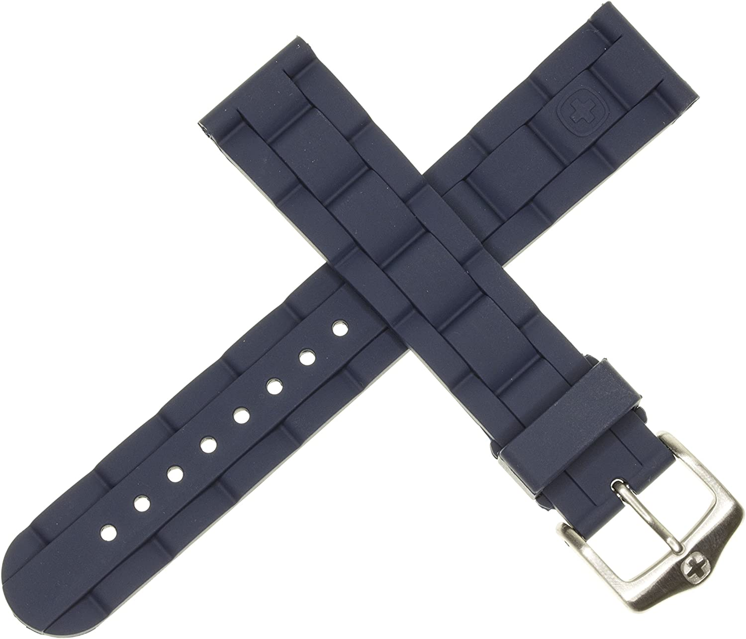 New 19mm Wenger Swiss Army Genuine Challenge the lowest price of Japan Diver Watch Rubber Sacramento Mall Strap Blue
