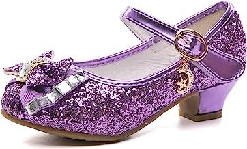 Je-Gou Kids Girls Mary Jane Wedding Party Bridesmaids Glitter Low Heels Princess Dress Shoes