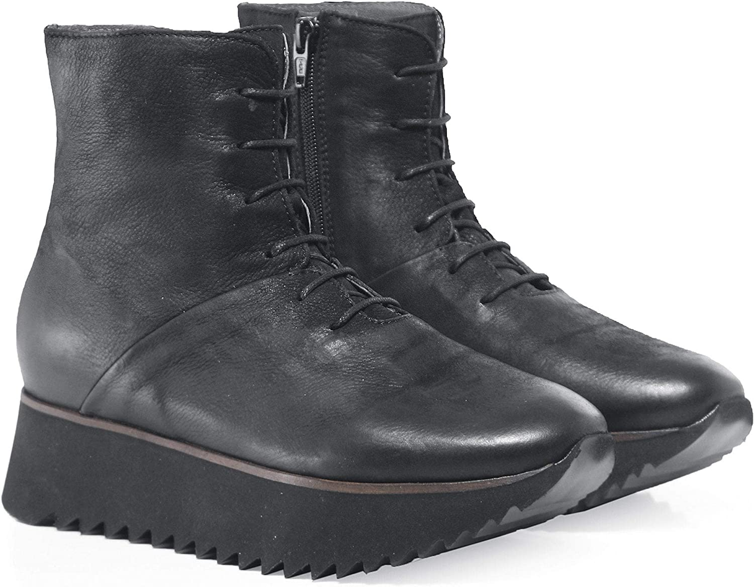 Lofina Women's Lace Up Wedge Boots Black