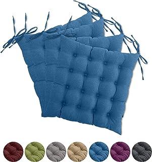 wometo Juego de 4 cojines de asiento para silla OekoTex, 40 x 40 cm, color turquesa