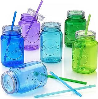 Cupture Acrylic Mason Jar Tumbler Mugs with Lids & Straws - 20 oz, 6 Pack (Cool Lagoon)