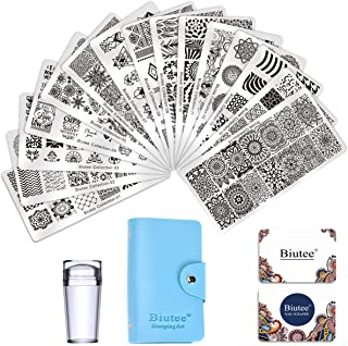 Biutee 19pcs Nail Stamp Plates set 15 plate 1 Stamper 2 Scraper 1 storage bag Nails Art Stamping Plate Scraper Stamper Set Leaves Flowers Animal Nail plate Template Image Plate