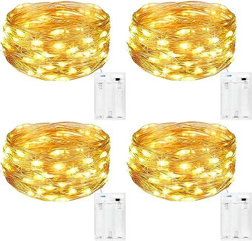Kolpop Guirlande Lumineuse [Lot de 4], Mini Guirlande LED a Pile 5m 50 LEDs Intérieur et Extérieur Décoration Lumière...