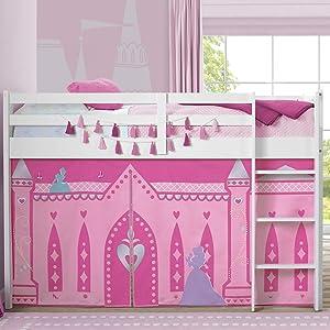 Delta Children Loft Bed Tent Curtain Set for Low Twin, Disney Princess, 75 x 36.5 x 37 Inch