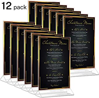 MaxGear Acrylic Sign Holder Menu Holder Display Acrylic Frame 4x6 inches Clear Picture Frames Double Sided Standing Menu Covers Plastic Photo Holders for Tables, Wedding, Marketing, Reception-12 Pack