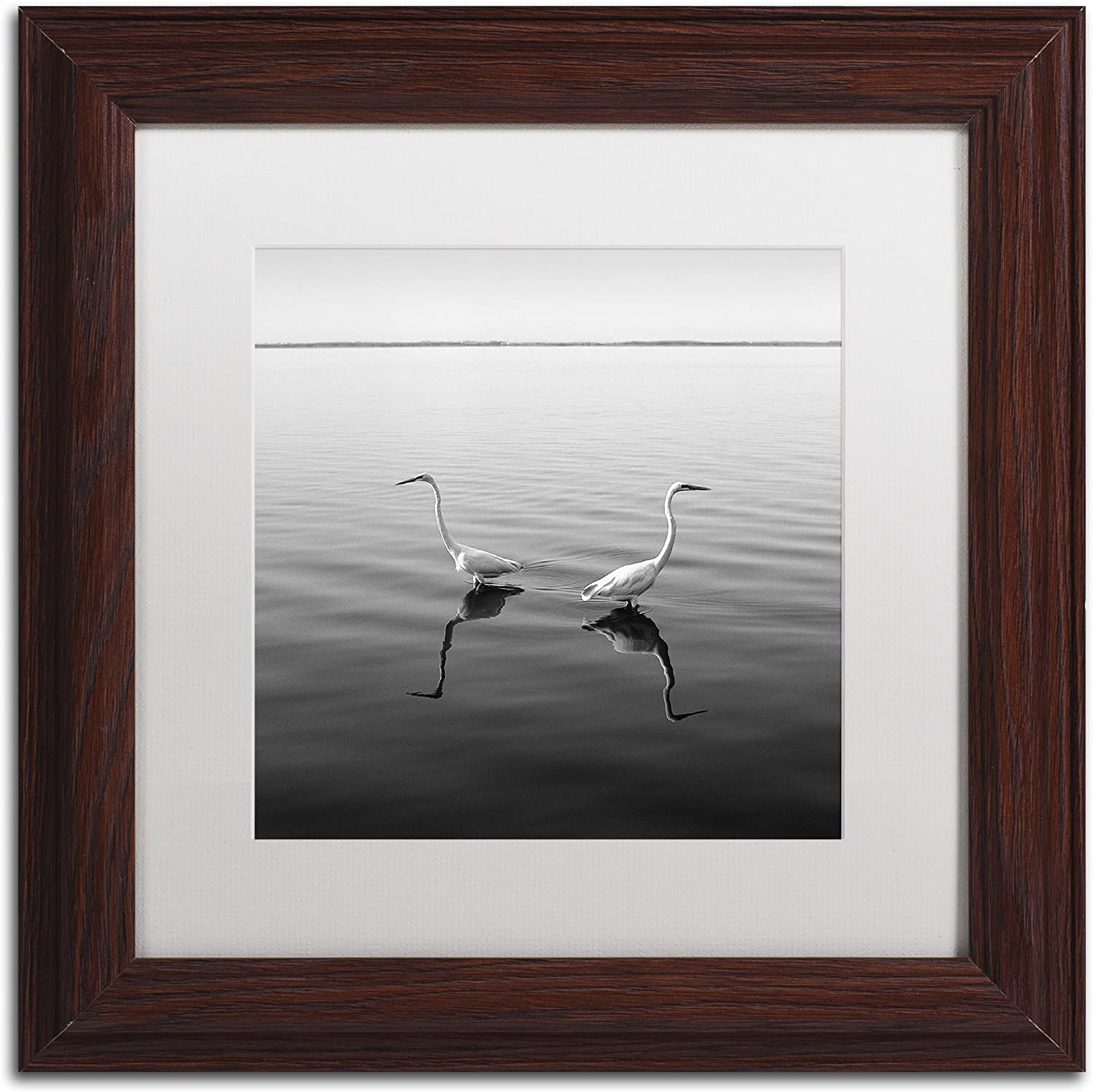 Trademark Fine Art 2 Herons by Moises Levy in White Matte and Wood Framed Artwork, 11 by 11Inch