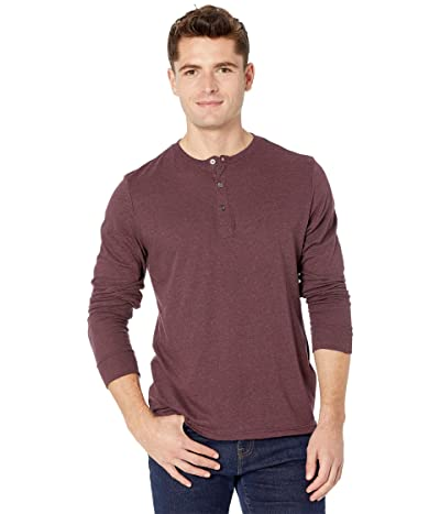 Threads 4 Thought Tri-Blend Long Sleeved Henley (Maroon Rust) Men